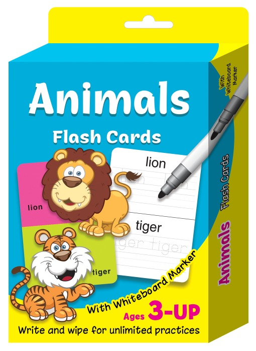 FC49-FLASHCARD ANIMALS WITH WHITEBOARD MARKER
