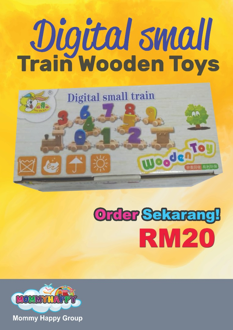 JUNET13-Digital Small Train Wooden Toys