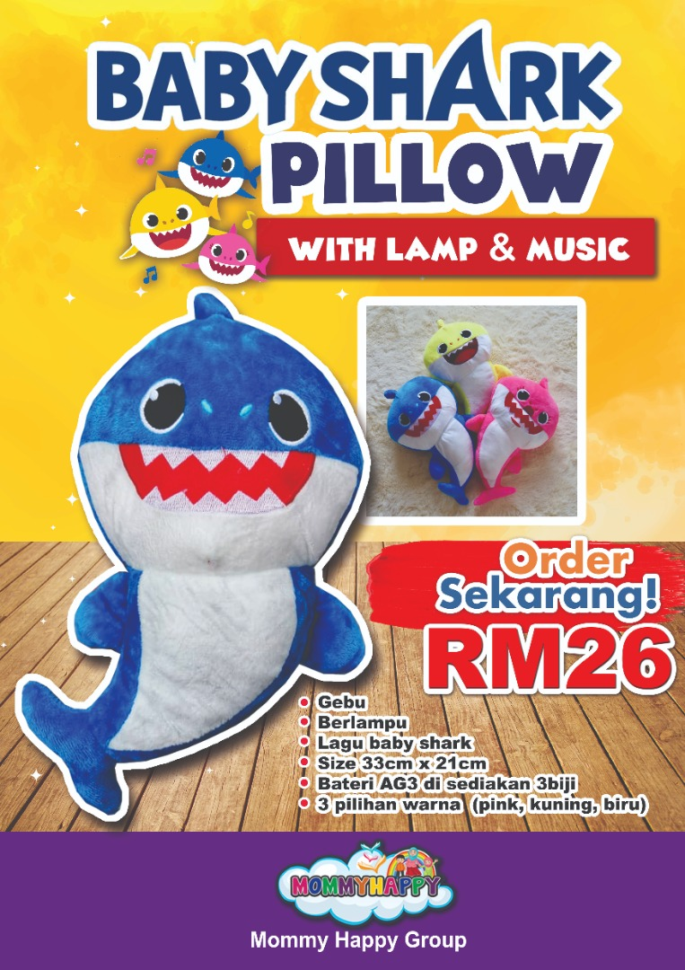 SEPET07-BABY SHARK PILLOW WITH MUSIC & LAMP (BLUE)