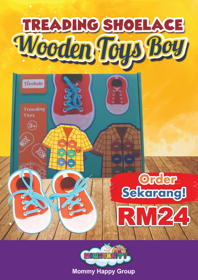 SEPET05-TREADING SHOELACE WOODEN TOYS BOY
