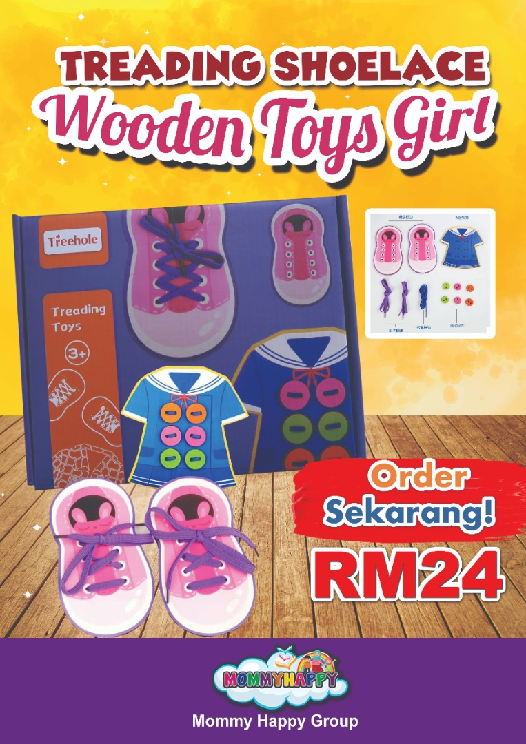 SEPET06-TREADING SHOELACE WOODEN TOYS GIRL