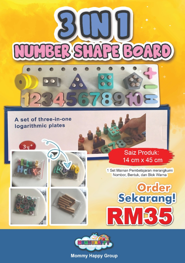 PREORDER – NOVET02 – 3 IN 1 NUMBER SHAPE BOARD